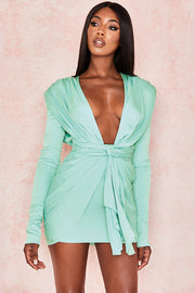 Lucinda Plunge Draped Dress-Green