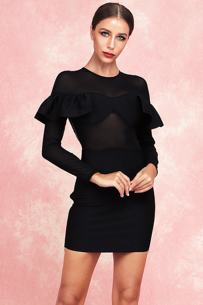 Anelica Mesh Bandage Dress-Black