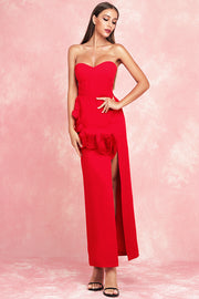 Athena Strapless Dress-Red