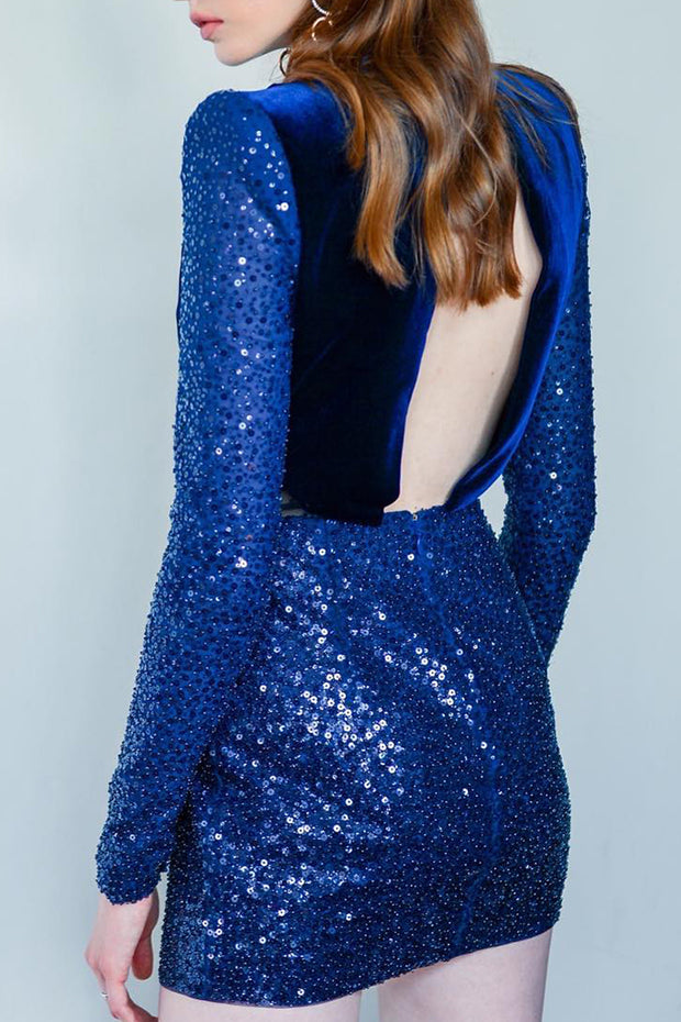 Catherina Velvet Sequin Dress-Blue