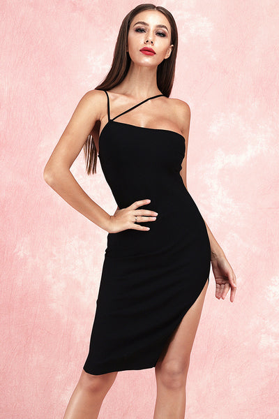Audrey Halter Bandage Dress-Black