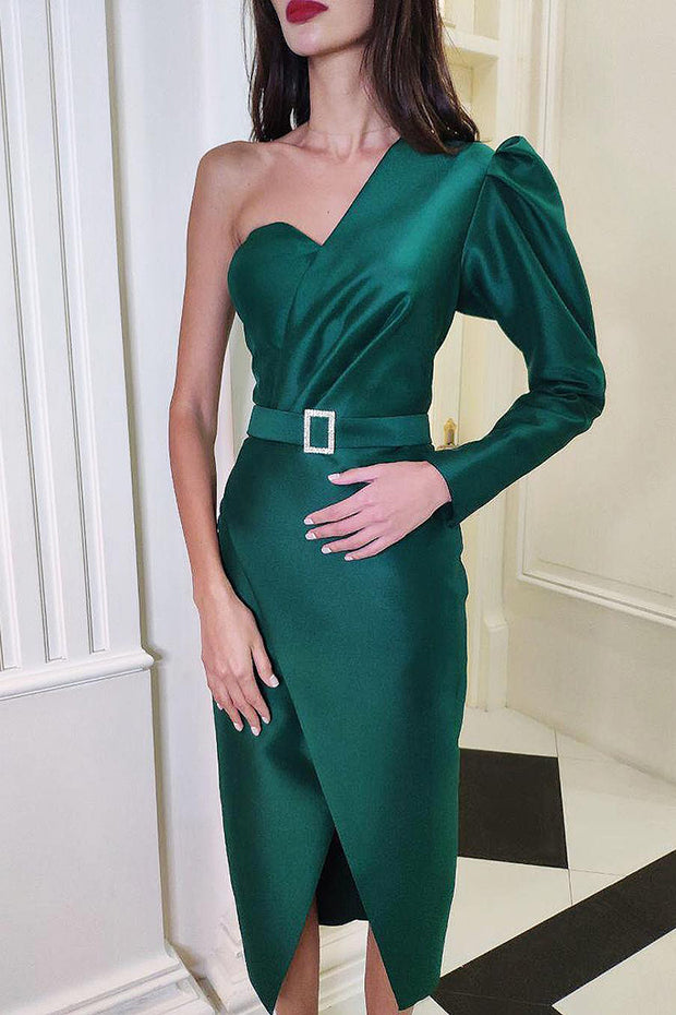 Catherina One Shoulder Dress-Green