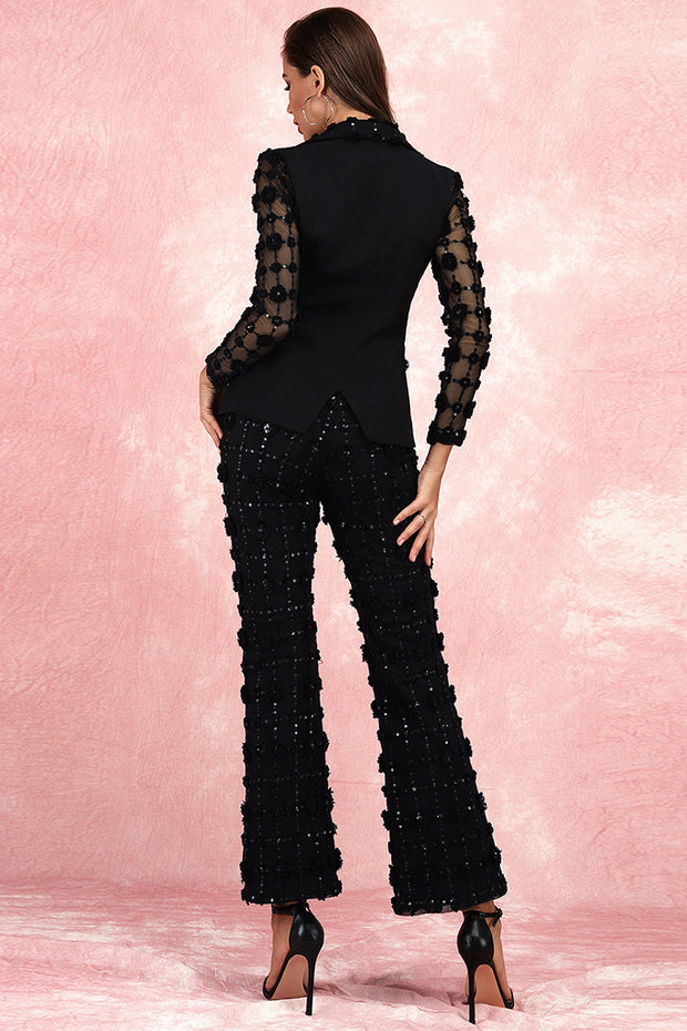 Doris Sequined Blazer Pants Suit-Black