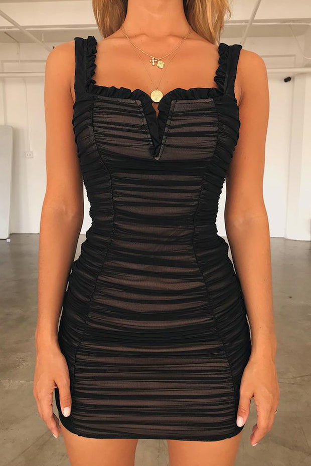 Sleeveless V Neck Backless Bodycon Dress