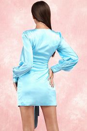 Cherrie Sash Wrap Mini Dress-Blue