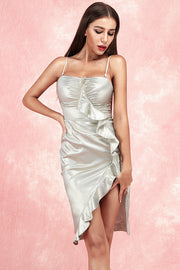 Kaitlyn Ruffles Draped Dress-Silver