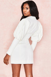 Anita Puff Sleeve Mini Dress-White