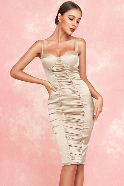 Kaitlyn Ruched Satin Dress-Nude