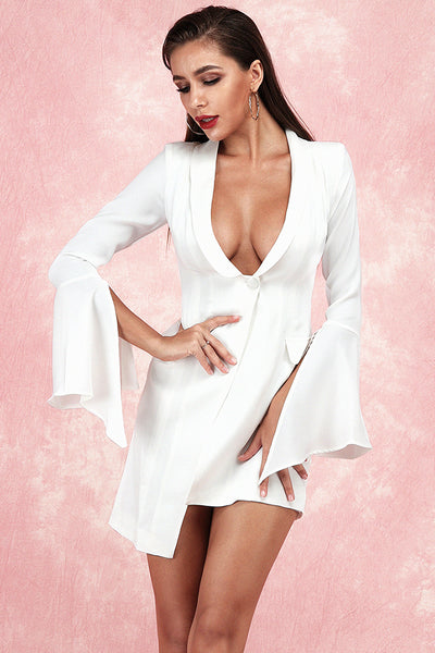 Buena Deep V Asymmetrical Dress-White