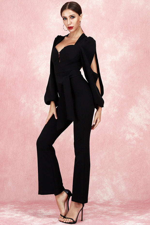 Charlene Boot Cut Jumpsuit-Black