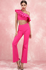 Lisa Two-Piece Pants Suit-Rose Red
