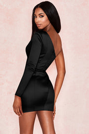 Jenny One Shoulder Dress-Black