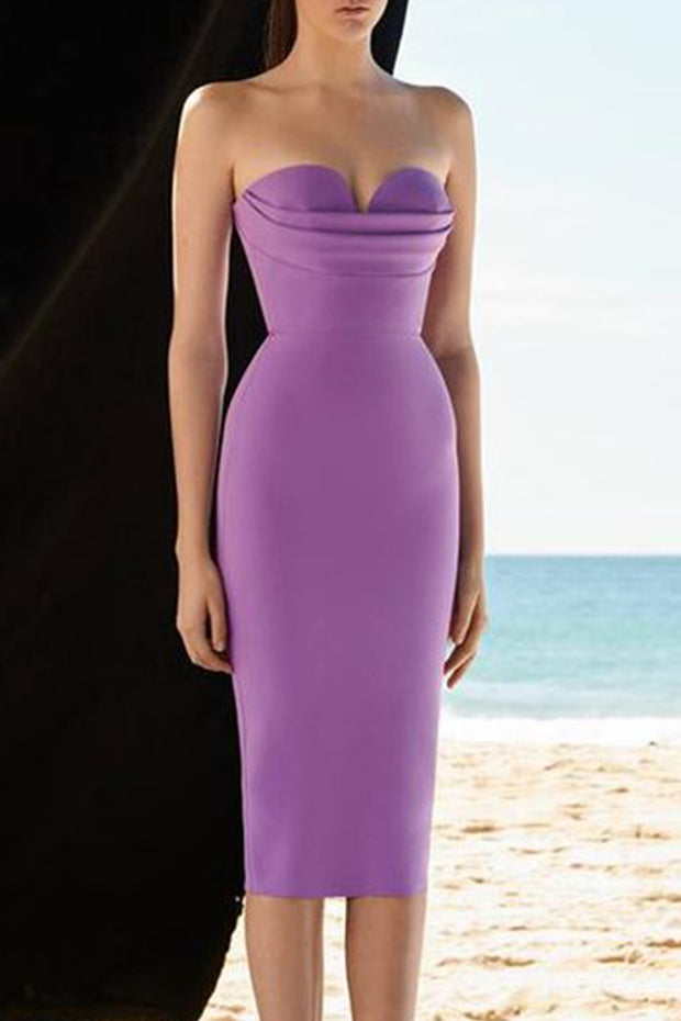 Strapless Heart-shaped Midi Dress