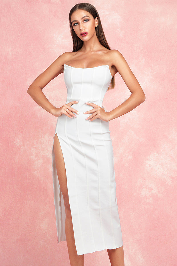 Cally Split Dress-White