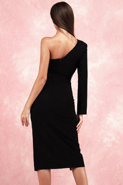 Brenda One Shoulder Crop Dress-Black