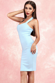 Athena Halter Bandage Dress-Light Blue