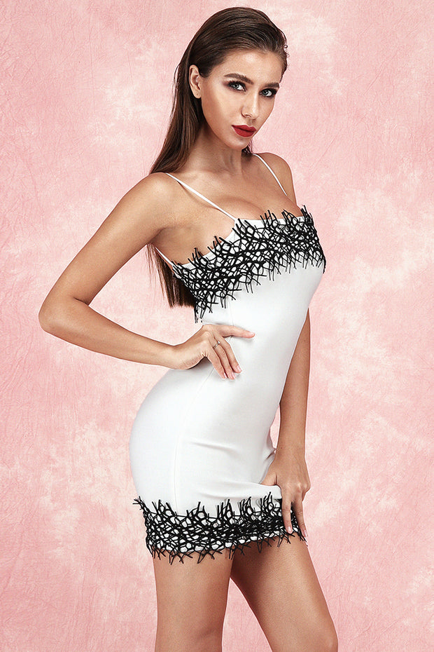 Anelica Sling Lace Bandage Dress-White