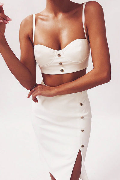 Sling Button Crop Top Split Skirt Bandage Two-Piece Sets