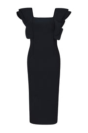 Black Frill Sleeve Square Neck Midi Bandage Dress