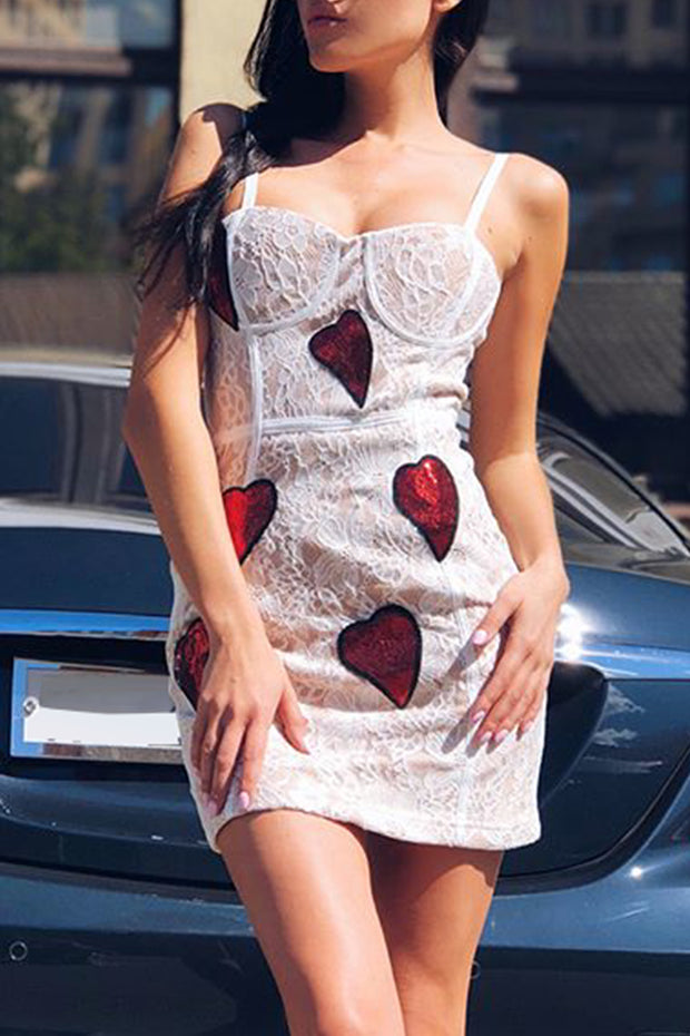 White Sequin Heart Mini Lace Dress