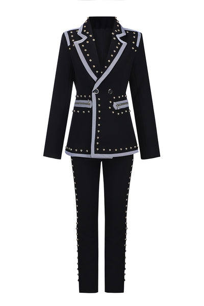 Black Metallic Rivet Zipper Pocket Neat Women Suits