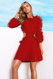H5578-Long-Sleeve Red Dress