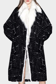 Rabbit Fur Collar Long Sleeve Maxi Coat - Black