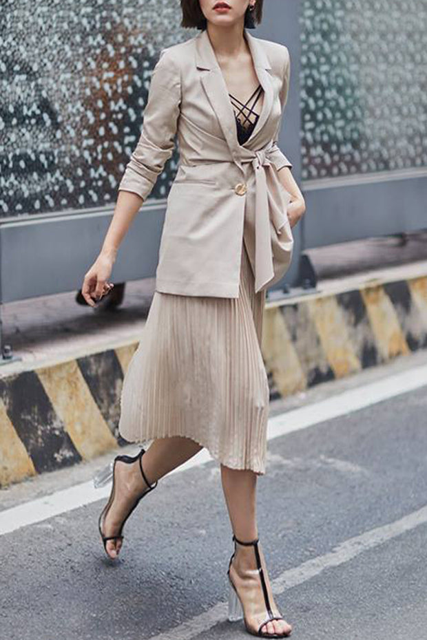 Long Sleeve Two Pieces Blazer Dress -Gray