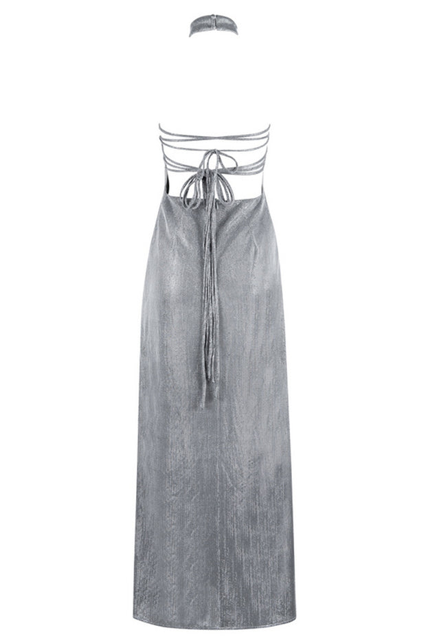 Slash Neck Backless Silver Maxi Dress