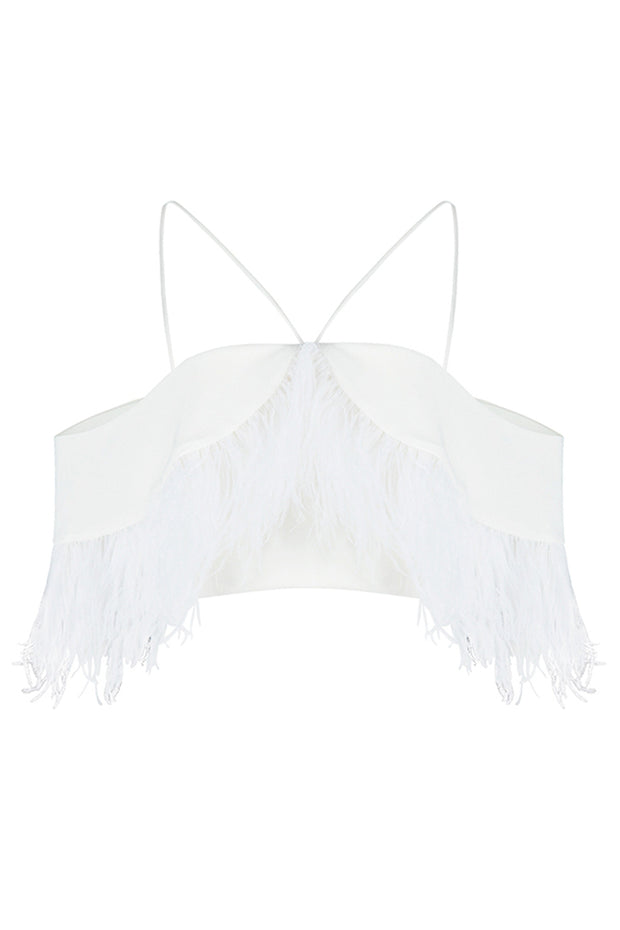 Off Shoulder Spaghetti Strap  Feather Fringed Crop Top White