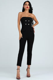 Strapless Button Decor Jumpsuit