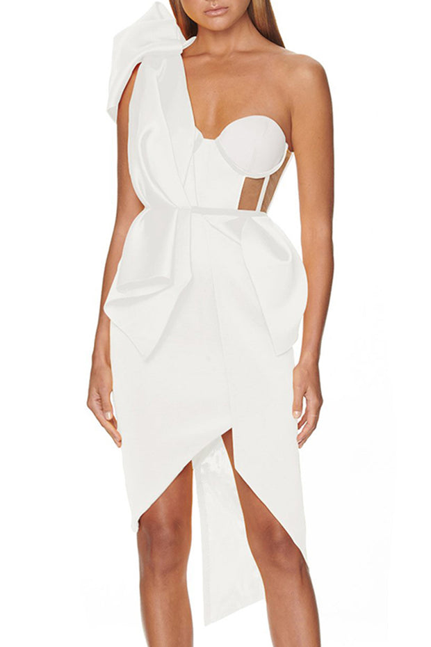 Daisy One Sholder Cut Out Dress-White