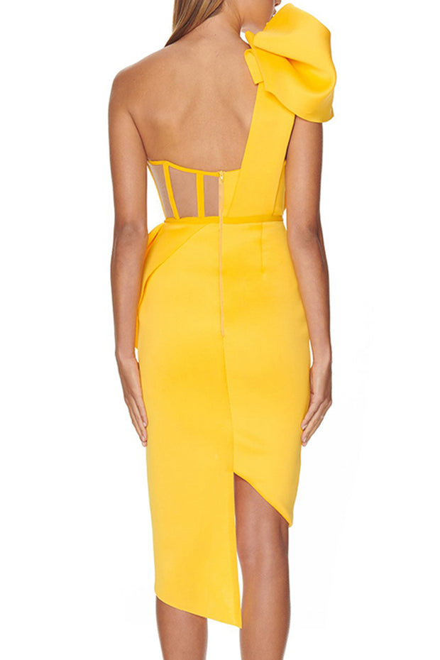 Daisy One Sholder Cut Out Dress-Yellow