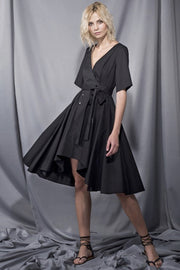 Sexy Deep V Short Sleeve  A Line Black Irregular Hem Midi Dress