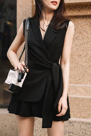 Office Lady Sleeveless Two Pieces Sets Dress- Black