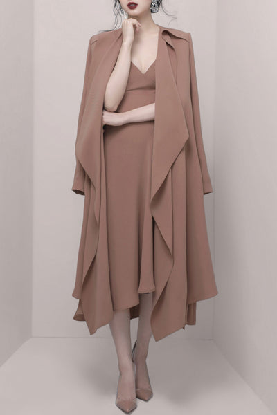 Office Lady Long Sleeve Maxi Outwear -Khaki