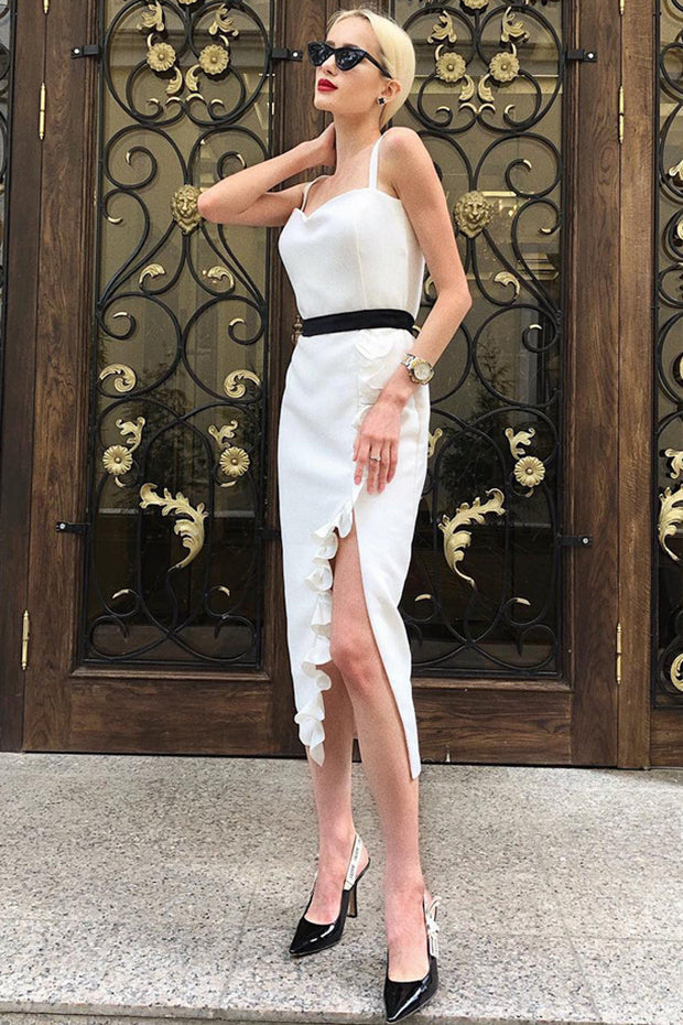Strap Lace Slit Bandage Dress -White