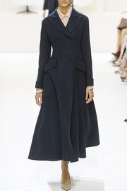 Double Breasted Woolen Maxi Coat Dress-Black