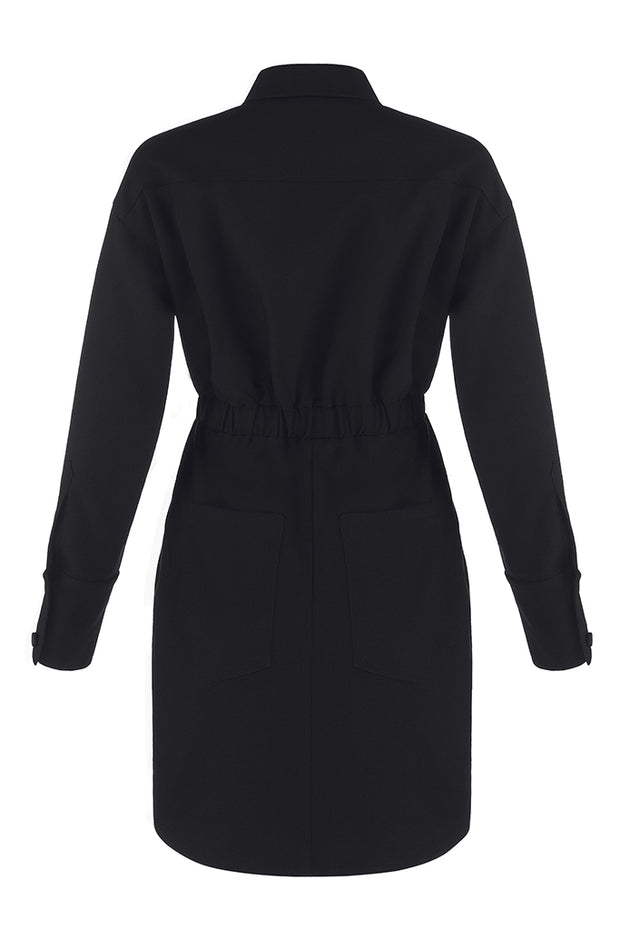 Black Long Sleeve Zipper Women Shirt  Mini Dress