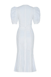 Short Sleeve Hollow Out Dress-White