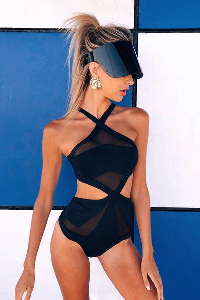 H7027 Sexy  Black Bodysuit