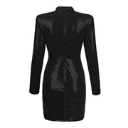 Black Mini Sexy Long-Sleeve Dress