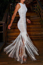 Fishtail Tassels Gown Dress