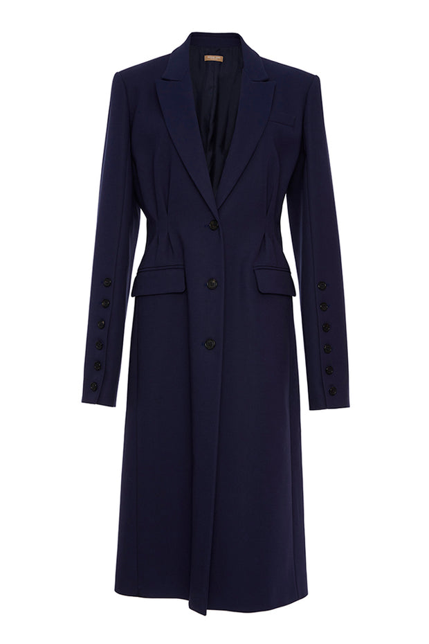 Long Sleeve Maxi Dust Coat - Dark Blue