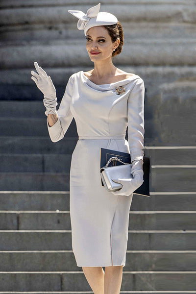 Chic Long Sleeve Bodycon Dress -White