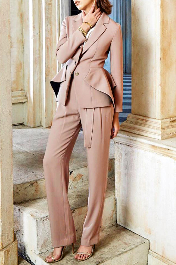 Long Sleeve Blazer Pants Suit Sets -Black