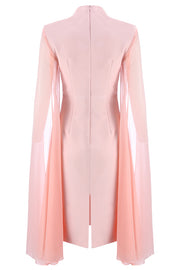 Bettina Cape Sleeves Bodycon Midi Dress-Apricot Pink