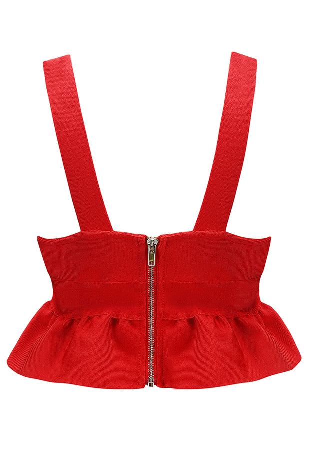 Red Plunge Neckline Ruffle Hem Crop Top