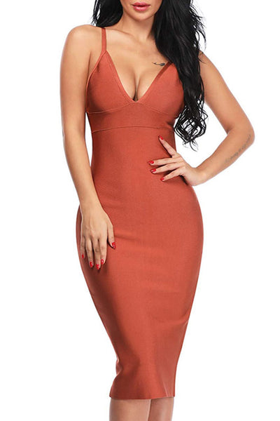V Neck Midi Bandage Midi Dress Solid Color