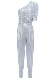 Kaitlyn One Shoulder Jumpsuit-Silver